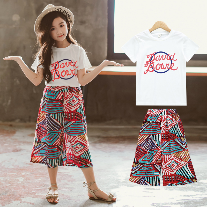 Child Women culottes 2 piece set youngsters tshirt + pants youngsters clothes ladies garments ladies outfits summer time 2019ladies summer time units Clothes Units, Low cost Clothes Units, Child...