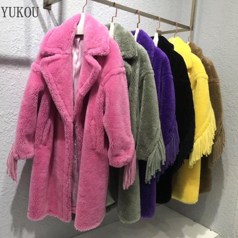 Teddy Bear Women Wool Coat Long 2018 Winter Female 100%Wool Jacket Loose Big Code Overcoat Thick Warm Fur Multiple colors