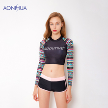 AONIHUA Tight Sport Bodysuit Waterproof Swimsuit Women Swimwear Floral Print Long Sleeve Bathing Suit Design