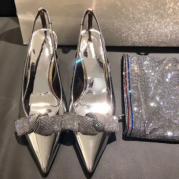 2019 Brand Slingback Women Pumps Luxury Rhinestones Butterfly Party Wedding Shoes Elegant  High heels Summer Prom Shoes Sandals