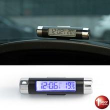 Автомобильные цифровые ЖК-часы и температурный дисплей портативные 2в1 автомобильные электронные часы термометр Синяя подсветка с зажимом