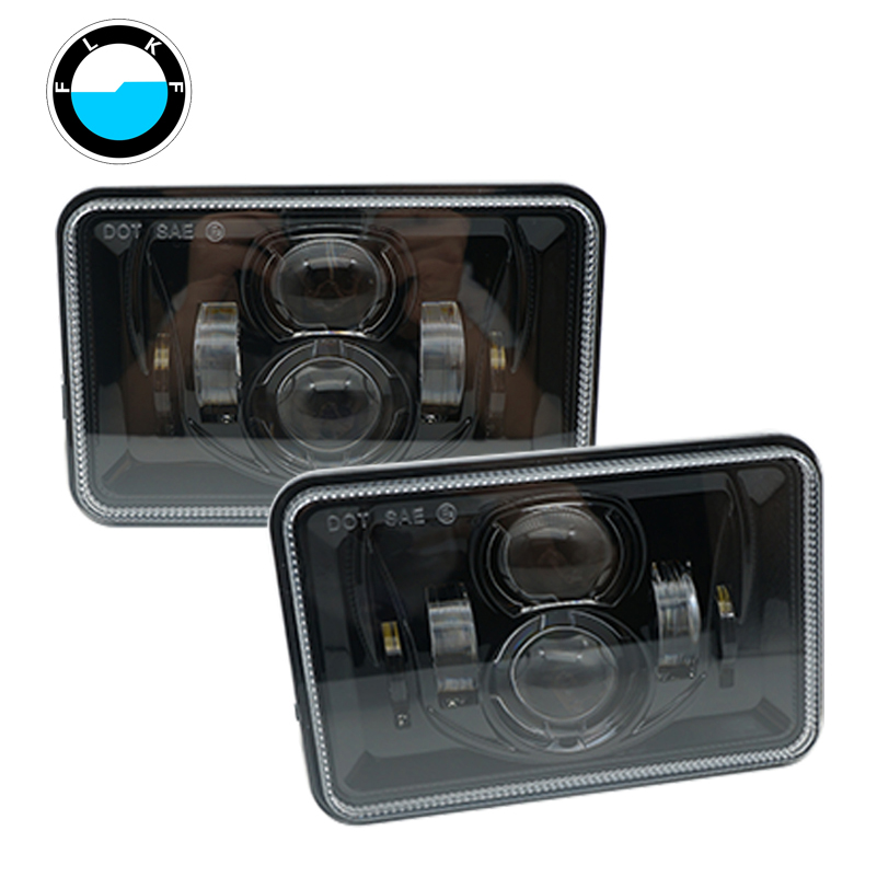 4x6 Inch LED Headlights H4 For Peterbilt Rectangular Headlights 379 378 357 6x4 inch Rectangular Projector LED Headlights .