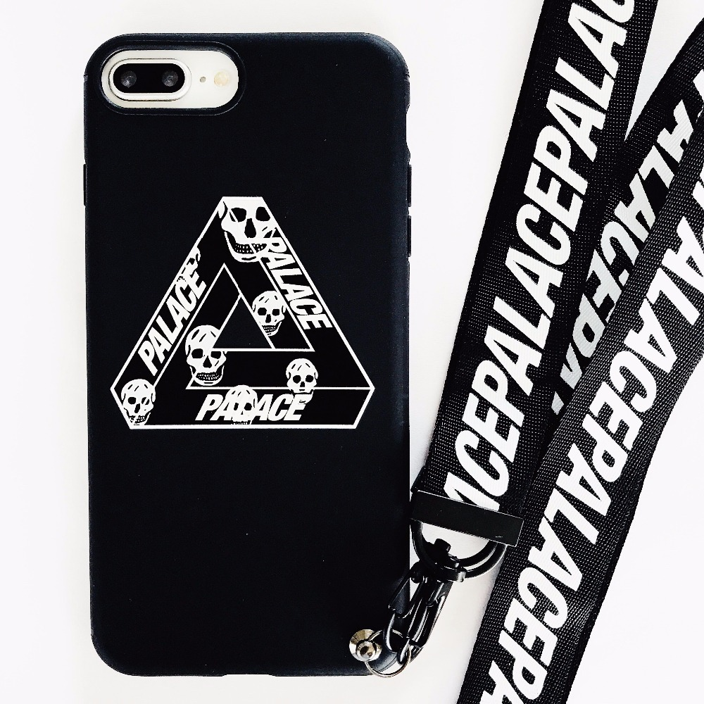 Luxury Brand Triangular Palace Skull Case For iPhone 8 7 6 6S Plus X UK Skateboard Trend Soft lanyard Phone Cover Coque Fundas