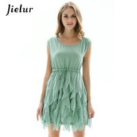 Jielur 2018 Summer Ruffles Chiffon Dress Women Slim Sashes Drawstring Lady Dresses Solid Color Sleeveless Fashion