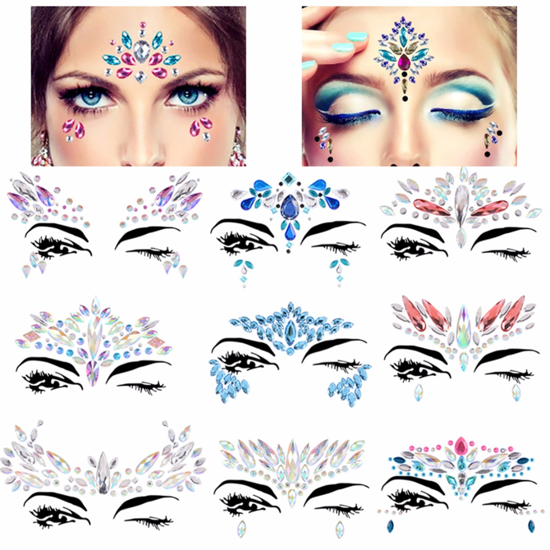 Shellhard 1 Sheet Adhesive Face Body Art Adhesive Stickers Eye Forehead Crystal Festival Party Bindi Makeup Tattoo Stickers