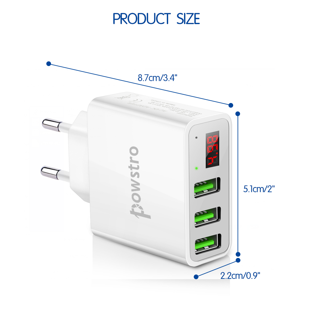 Powstro 5V 3A 3 USB Wall Charger LCD Intelligent Digital Display Universal EU Plug Travel Adapter Voltage Current for Cellphone