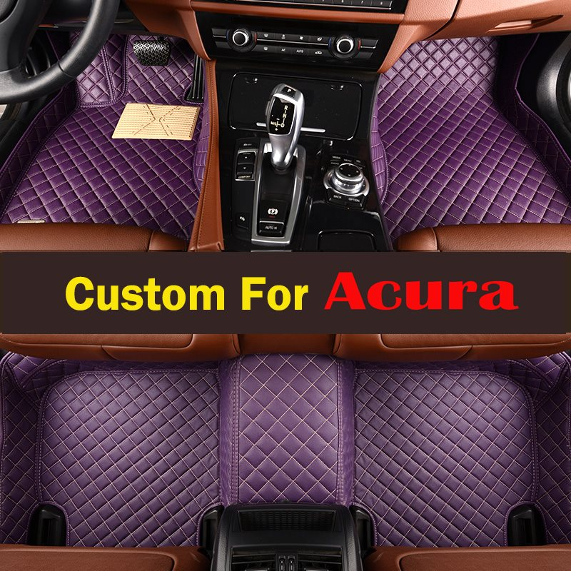 Lady Red Purple Cute Leather Custom Fit Car Floor Mats For