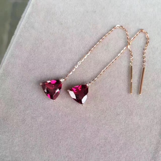 Simple Style Natural Garnet Drop Earring 18k Rose Gold Triangle Tiny Diamond Fashion Women Jewelry Free