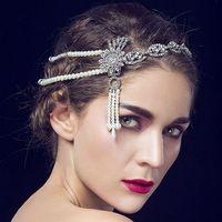 2017 New Manufacturers Selling Korean Pearl Frontlet Crown Tassel Bride Wedding Wedding Accessories Hair Jewelry WL