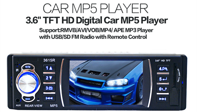 3.6 inch 12V Car Radio Audio Stereo TFT Screen Support Rear View Camera FM Audio MP3 USB SD AUX In Player with Remote Control