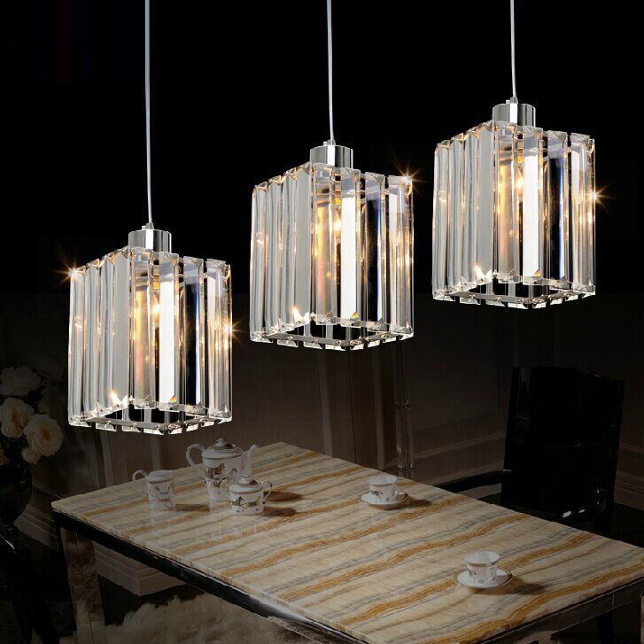 Free Shipping Modern K9 Crystal Square Pendant Light Lamp Chrome Kitchen Ceiling Fixtures Lighting
