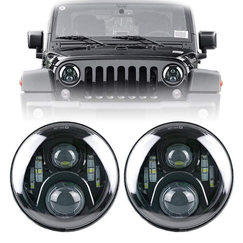 7 Inch Round LED Headlights Hi / Low Beam Lamp H4 H13 Projection Headlight Kit for Jeep Wrangler JK TJ LJ Hummer whdz 1pc round 7inch 75w round led headlight hi low beam head light with bulb drl for jeep wrangler tj lj jk cj 7 cj 8 scrambler