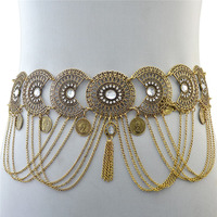 Womans Openwork Crystal Waist Chain Tassel Geometry Coin Long Metal Chain Luxury Belly Fringed Belt Dance