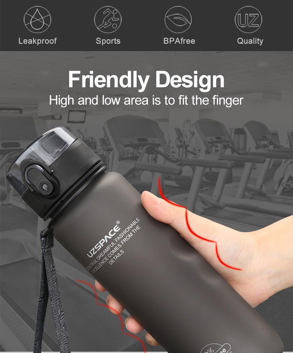 UZSPACE Sport Water Bottle Direct Drink or Straw fruit Infuser Bottle 500ml Portable Leakproof Gourde Plastic Drinkware BPA Free