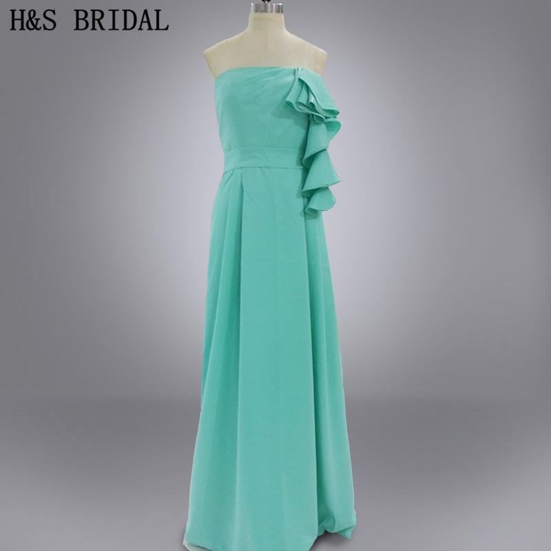 Real photo green party long chiffon cheap   bridesmaid     dresses