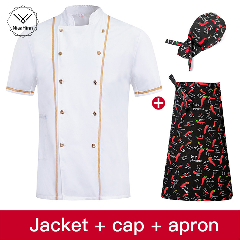 Summer Pastry Chef Clothing Unisex Short Sleeve Kitchen Jacket White Cuisine Chef Uniform Apron Adjustable Hat For Men And Women