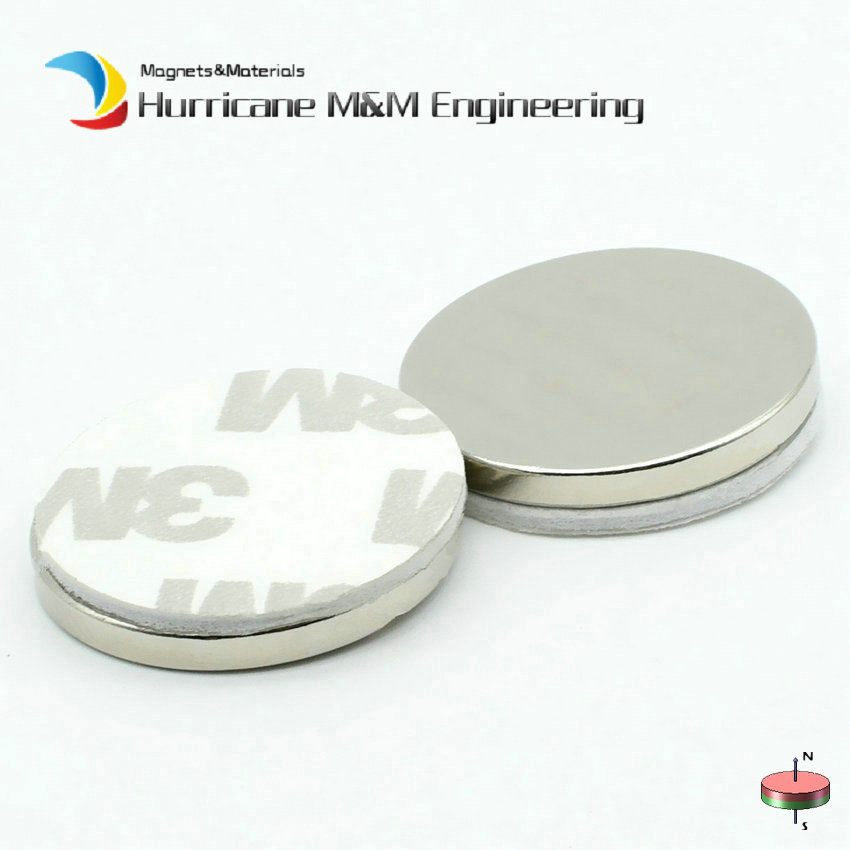 NdFeB Disc with 3M Foam Adhesive Dia. 25x3 mm 1 N42 Strong Neodymium Magnets Rare Earth Permanent Magnet 12-100pcs