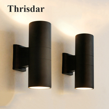 Thrisdar 18W 24W Cylinder Outdoor LED Porch Wall Light Up Down Waterproof LED Wall Lamp Hotel Villa Balcony Exterior Wall Light