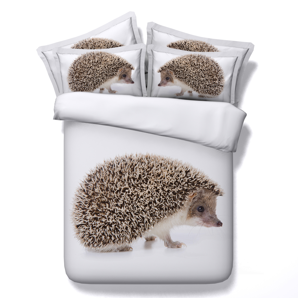 hedgehog 3D print bedding sets full queen sizes white bed linens twin king quilt cover 3/4 pc animals bedspreads boy teens gifts ...