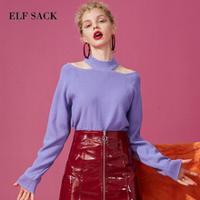 ELFSACK New Fashion Purple Woman Sweater Casual O Neck Long Sleeve Women Pullovers Solid Hand Knitted Chic Femme Sweater Tops