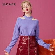 ELFSACK nueva moda púrpura mujer suéter Casual cuello redondo manga larga mujeres jerseys sólido tejido a mano Chic Femme suéter camisetas
