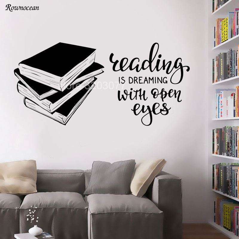 Reading Is Dreaming With Open Eyes Vinyl Art Wall Decal Books Quote Reading Room Library Bookshop Inspirational Stickers SK01 in Wall Stickers from Home Garden