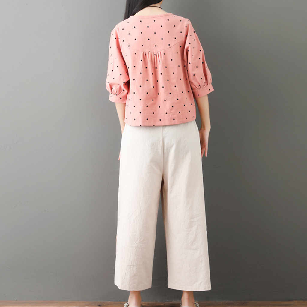 JAYCOSIN 2019 New Summer Women Suit Korean Fashion Dot Print Three Quarter Sleeve Tops Ankle-Length Pants Pink Home Set 905227