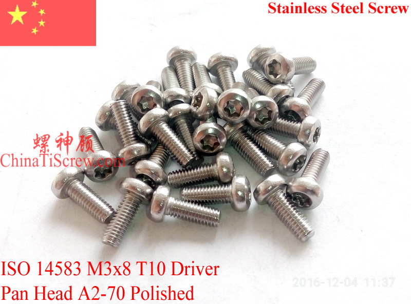 Stainless Steel screws M3x8  Torx T10 Driver ISO 14583 Pan Head A2-70 Polished ROHS 100 pcs