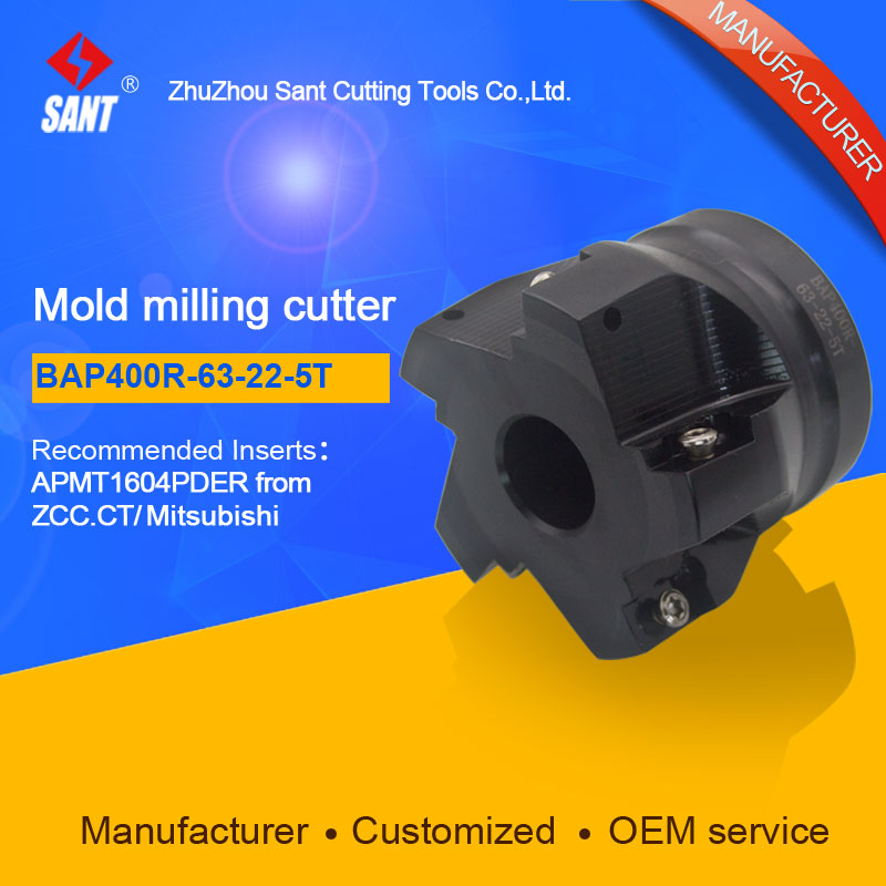 SANT  Indexable Milling cutter mold milling tools BAP400R-63-22-5T match with cnc carbide inserts APMT1604PDERSANT  Indexable Milling cutter mold milling tools BAP400R-63-22-5T match with cnc carbide inserts APMT1604PDER