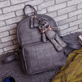 2016 New Women Fashion Backpack Casual PU Leather School Bags For Teenagers Girls College Little bear pendant shoulder bag zs601