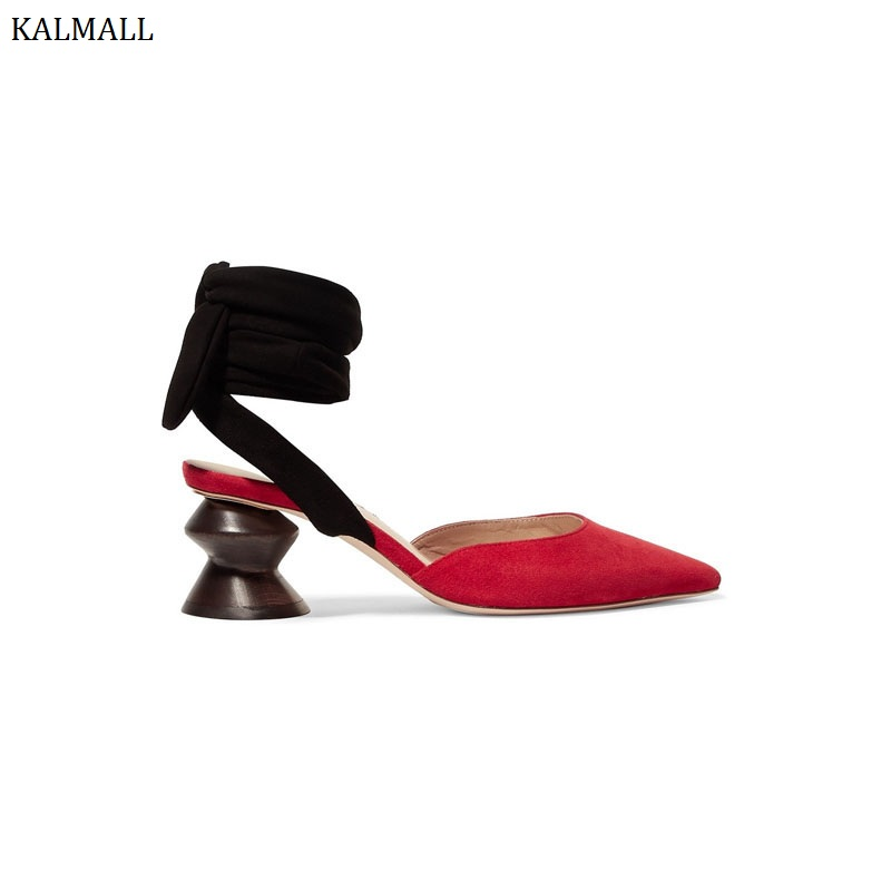 Estilo En Puntiagudo Correa Alto Del extraño Tacón Encaje Bombas Rojo Gladiador Tobillo Pie De El Red Mujer Zapatos Mujeres Dedo Kalmall Sandalias Gamuza black Roma w4vUOnq