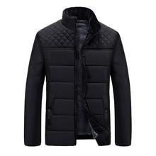 Men winter jacket 2017 New Brand Stand Collar Casual Bomber Jacket Men Thick Warm Down Parka Overcoat Winter Fleece Parkas Coat
