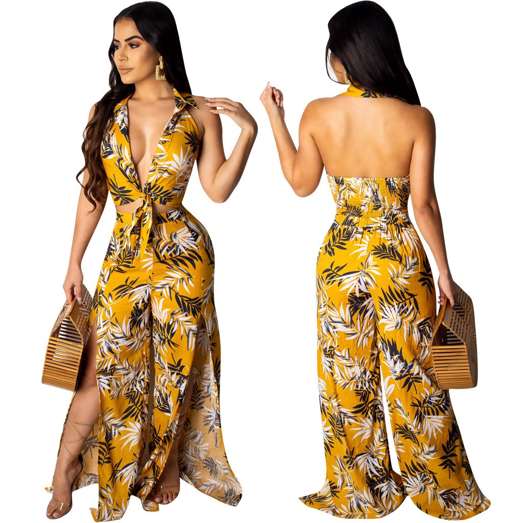 2019 Sexy Leaves Print Two Pieces Sets Women Deep V Neck Crop Top Wide Leg Pants Tracksuits Bohemian Beach Outfits