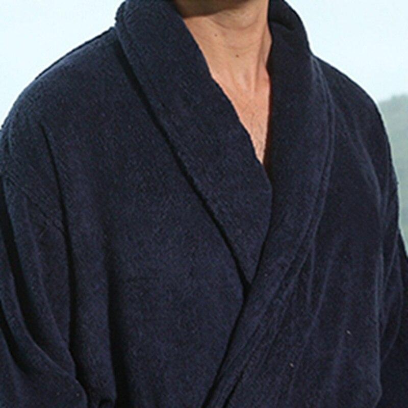Hiver hommes peignoir coton épaissir grande taille XL jolie chaude longue douce hommes robe chemise de nuit couverture serviette polaire maison hôtel robe - 6
