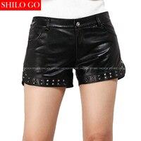 SHILO GO New Fashion Street Women Black Sexy Empire Zipper Leather Shorts sheepskin Genuine Rivets Shorts Ladies hot Mini Shorts