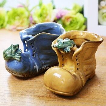 мебель для хранения обуви | Креативная ретро керамические Валенки домашние декоративные личность лягушки из птиц и цветов Обувь для рабочего стола, Маленькая коробоч...