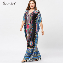 Plus Size Butterfly Sleeve Tribal Print Women Maxi Long Dress Vintage Dresses Short Sleeve Casual Loose Vestidos