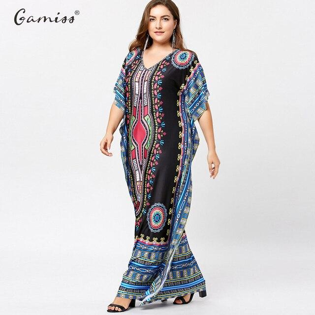 ab1044d179 Gamiss Plus Size Motyl Rękawem Tribal Drukuj Kobiety Maxi Długa Sukienka W  Stylu Vintage Sukienki Krótki