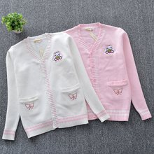 Japanese JK Knit cardigan sweater Loose Cute Embroidery Butterfly white rabbit embroidery V neck long sleeve uniforms Thick