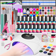 WiRinef Набор для начинающих видов гель-лака для ногтей УФ светодиодный светильник для сушки маникюра Soak Off праймер Комплект гель-лака