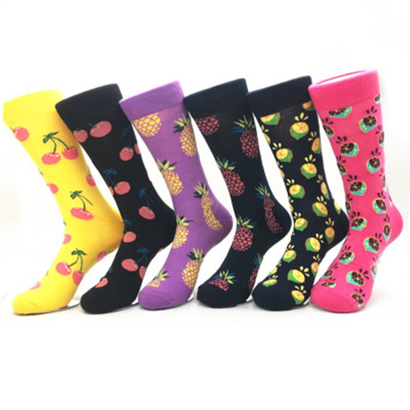 1 pair combed cotton   socks   for man funny   sock   colorful lips cherry pineapple guitar lemon Pitaya banana pear Calcetines