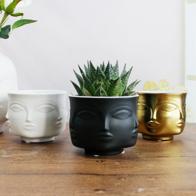 American Creative Design Planter Face White Nordic Ceramic Small Decorative Vase Flower Pot Succulents Indoor Plant Holder Home