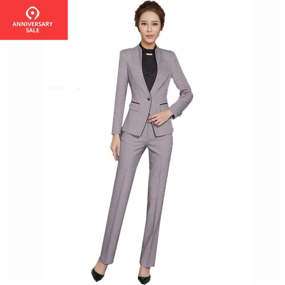 € 35.77 30% de DESCUENTO|2019 otoño Mujer Pantalones elegantes conjunto de mujer ropa de trabajo chaqueta de manga larga con pantalones Oficina XXXL