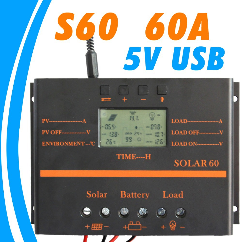 60A Solar Controller LCD PV panel Battery Charge Controller 12V 24V Solar system Home indoor use 5V usb solar charge controller 100w folding solar panel solar battery charger for car boat caravan golf cart