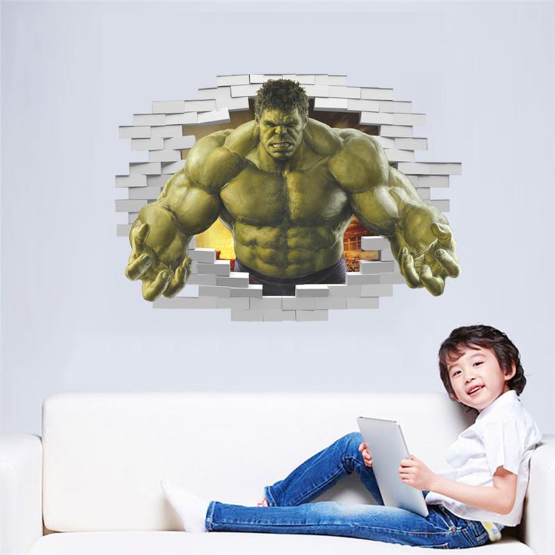 HTB19CetQpXXXXbdXXXXq6xXFXXXY - violent Avengers Hulk Peel through wall sticker for kids rooms