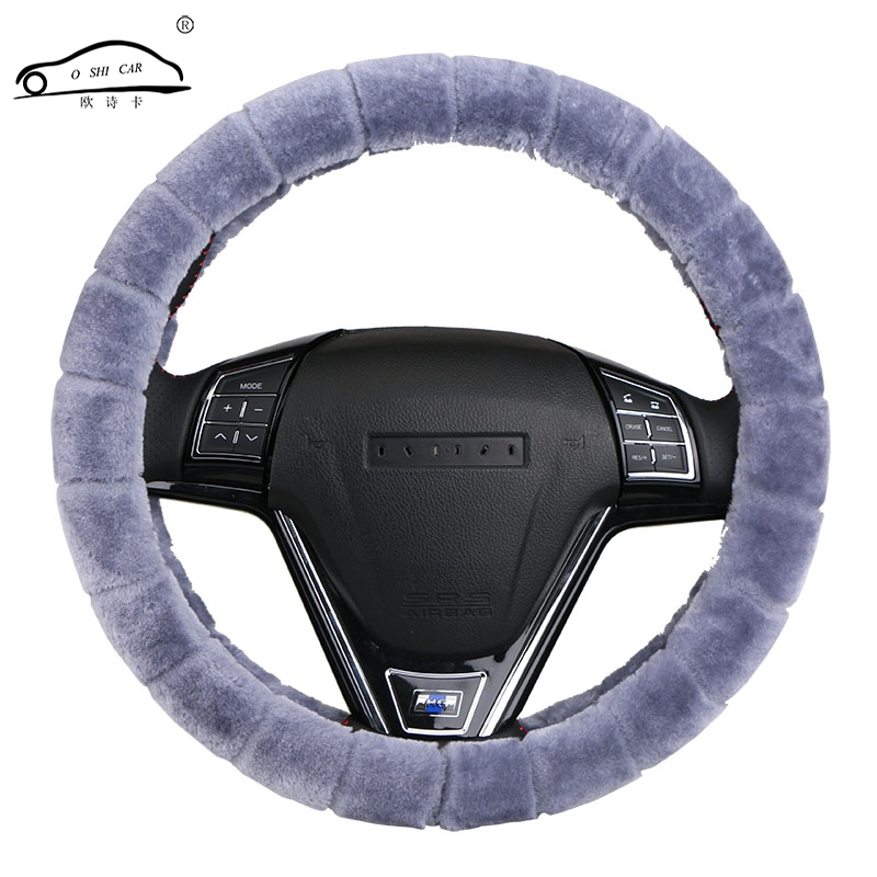 2017 New Arrivals Black Purple Red Girls Plush Car Steering Wheel Cover/Winter Warm Universal braid on the steering-wheel of car diameter 38cm new universal braid on the steering wheel car steering wheel cover for renault megane 2 3 for mazda 3 6
