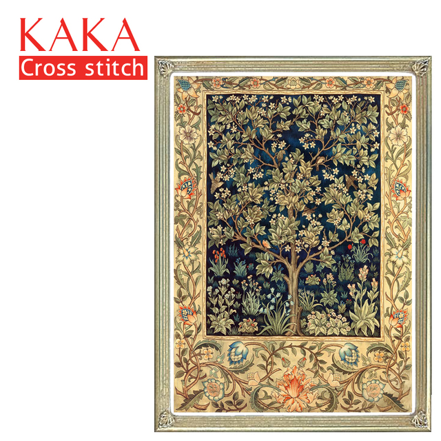 Кака наборы для вышивки крестом, 5D золотое дерево текстуры, вышивка рукоделие Наборы с набивным рисунком, 11CT холст, домашний декор живопись