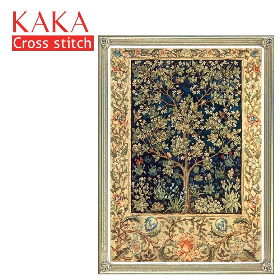 KAKA kits de ponto de Cruz, 5D Árvore Dourada Textura, Bordado needlework define com padrão impresso, 11CT tela, pintura Decoração de casa