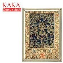 KAKA kits de punto de cruz, textura de árbol dorado 5D, juegos de costura bordados con patrón impreso, lienzo de 11 quilates, pintura de decoración del hogar