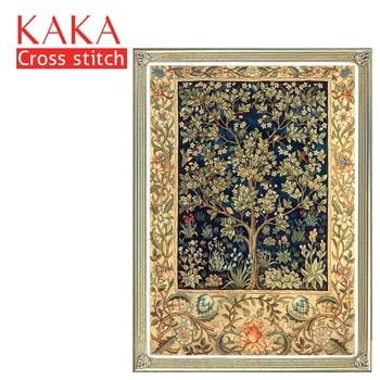 KAKA kruissteek kits, 5D Golden Tree Textuur, Borduren handwerken sets met gedrukte patroon, 11CT canvas, home Decor Schilderen